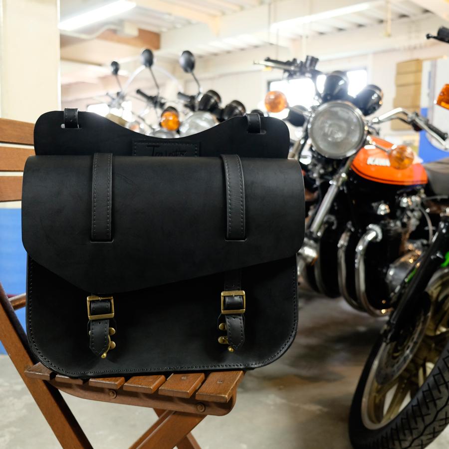 TM leather レザーサドルバッグ 黒